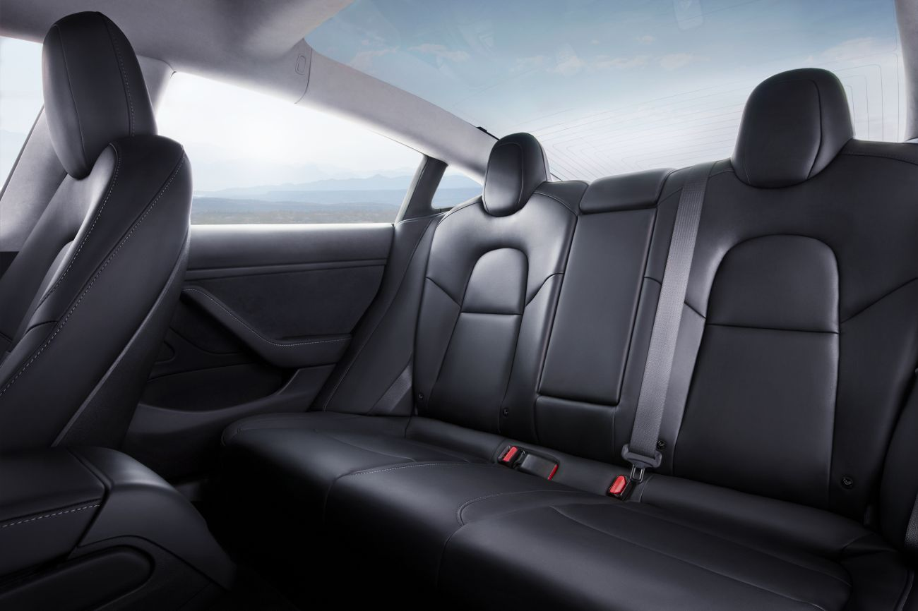 Model 3 – Interior Rear Seat Blue Sky